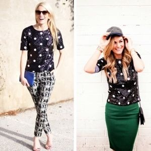 J. Crew Sequins Polka Dot Black White Blouse Crew
